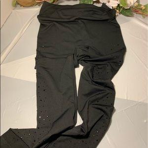 Ashley Stewart Black Sequin Side Leggings